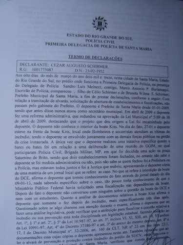 8 de março -  Primeira página da transcrição dodepoimento do prefeito Schirmer