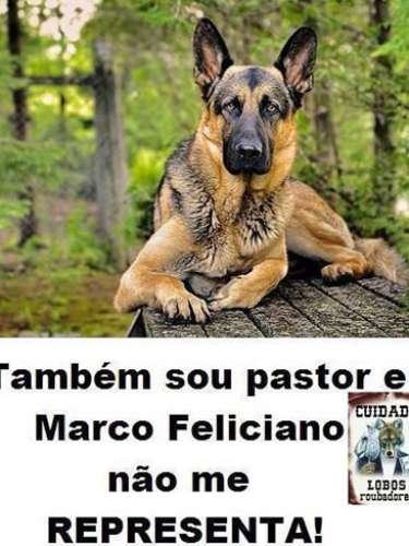 Cachorro da raça pastor alemão em montagem de protesto contra o deputado Feliciano