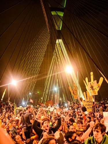 17 de junho A Ponte Estaiada, em São Paulo, foi um dos principais pontos de protesto hoje