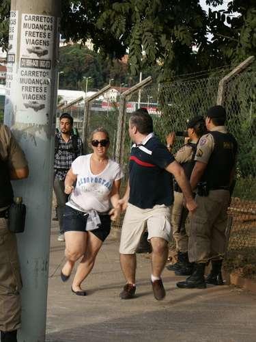 22 de junho -O confronto com a polícia começou quando os manifestantes chegaram ao cordão de isolamento nas proximidades do Estádio do Mineirão, onde Japão e México disputam uma partida válida pela Copa das Confederações