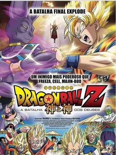 Em 'Dragon Ball Z: A Batalha dos Deuses', após dormir por 15 anos, o deus da destruição Bills desperta e logo fica surpreso ao saber que Freeza havia sido derrotado por um jovem sayadin chamado Goku. Não demora muito para que ele e seu mestre partam para encontrá-lo, ainda mais após Bills lembrar de um sonho que teve envolvendo um duelo épico com um deus super sayadin que ninguém jamais ouviu falar. Ao encontrá-lo, Goku fica animado em enfrentá-lo num duelo, mas logo percebe que seus poderes são ínfimos perto do poderio de Bills. Na foto, o pôster brasileiro