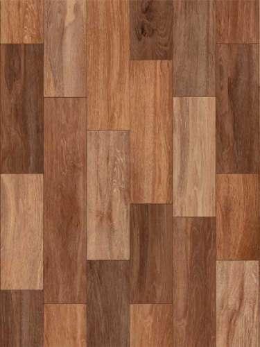 O material pode ser aplicado sobre uma superfície lisa, uma parede lixada ou um contrapiso nivelado. Há modelos que imitam madeira, como o desta foto