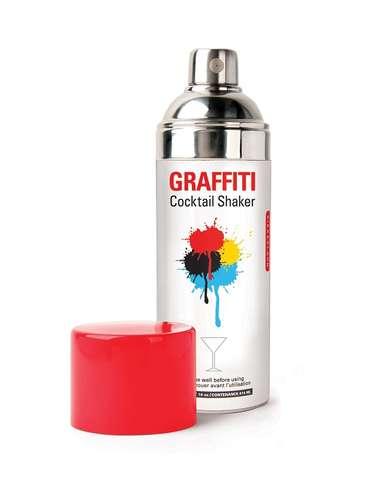 Coqueteleira em formato de uma latinha de spray de tinta, da Imaginarium. Preço: R$ 149,90.Informações:(11)3812-6802