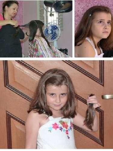Laís também não teve dó de passar a tesoura no cabelo; ela foi a primeira doadora mirim do projeto