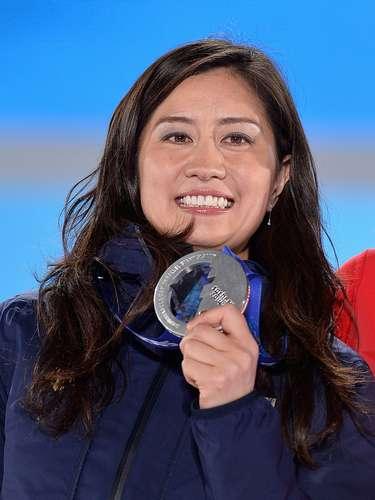 A medalista Tomoka Takeuchi, do Japão, preferiu deixar o cabelo solto