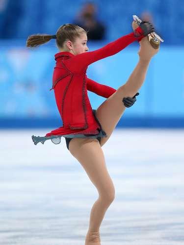 A russa Yulia Lipnitskaya também optou por um rabo de cavalo clássico durante a prova