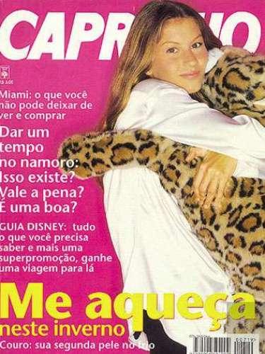 Em 1995 Gisele Bündchen apareceu na primeira capa de sua carreira, revista Capricho