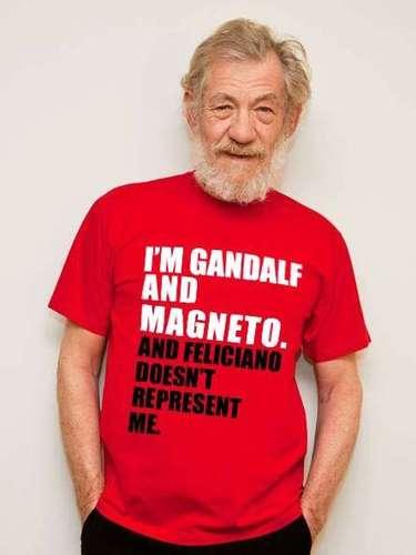 Uma foto doatorIan McKellen também foi usada nas montagens. Na imagem, o intérprete dos personagens Gandalf, da trilogia O Senhor dos Anéis, e Magneto, da saga X-Men, traz em sua camiseta uma mensagem dizendo que Feliciano não o representa