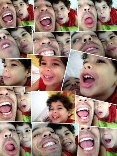 Peu Sousa em montagem de fotos com o filho mais novo, Ben, de quatro anos
