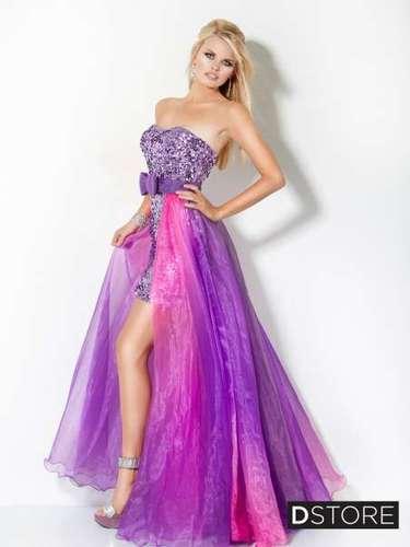 Os vestidos com saia removível é outra opção muito usada pelas debutantes. \