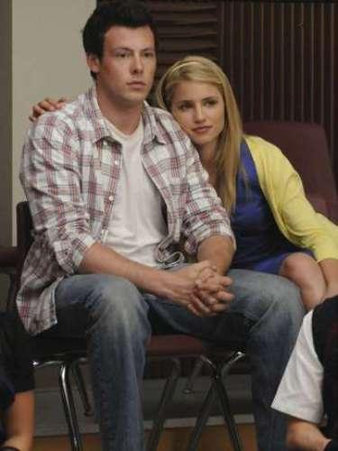 Cory Monteith e a atrizDianna Agron, intérprete da personagemQuinn Fabray, na série Glee