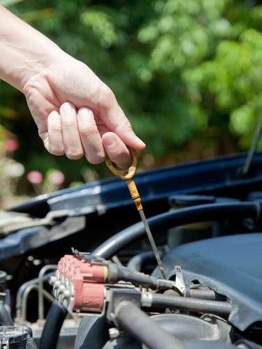 Verifique o óleo, retirando a vareta do compartimento e avaliando o nível