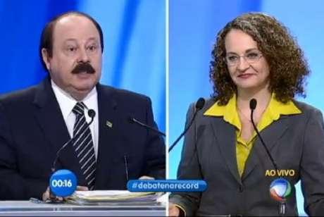 Reprodução do momento do embate entre Levy e Luciana em debate televisivo do ano passado Foto: Rede Record / Reprodução