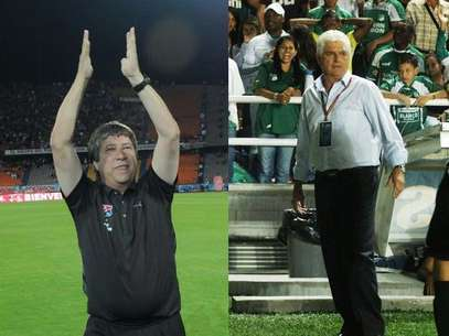 Hernn Daro Gmez, DT del DIM y Julio Comesaa tcnico del Deportivo Cali Foto: Terra