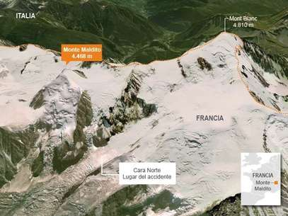 Una avalancha en el Mont Blanc ha dejado un mnimo de 9 muertos, dos de ellos espaoles, y 5 desaparecidos. Los servicios de rescate franceses se esfuerzan en encontrar a los montaistas desaparecidos. Foto: Google Maps / Terra