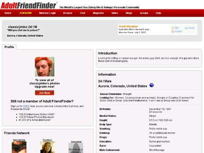 El perfil de James Holmes en adultfriendfinder.com Foto: REPRODUCCION