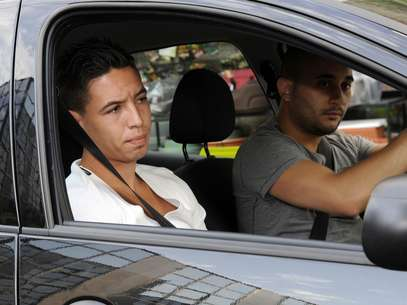 Samir Nasri arrives in a car at the French Football Federation (FFF) headquarters