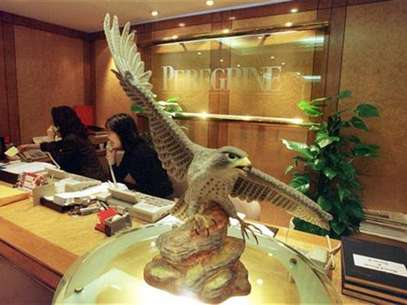 A peregrine falcon statue is displayed at the reception hall of Hong Kong's Peregrine Investments Holdings Ltd office as receptionists receive enquiry calls from investors January 12. HONGKONG PEREGRINE Foto: Reuters In English
