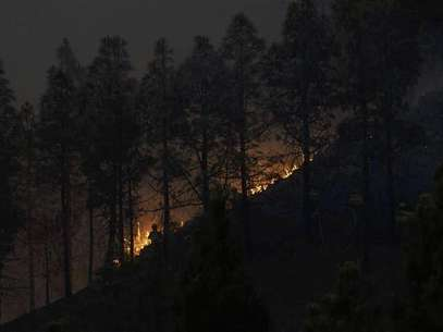 Firefighters work to put out a fire in the forest area of La Cumbre, near Santiago del Teide, Spanish Canary island of Tenerife, August 11, 2012. About 90 hectares (222 acres) of land had been burnt in two wildfires in Tenerife island since Friday night, according to local media. Foto: Santiago Ferrero / Reuters In English