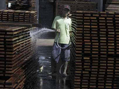 A worker sprays water onto piles of plank wood in timber company PT Larasati Multisentosa in Pasuruan, Indonesia's East Java province July 2, 2012. Foto: Sigit Pamungkas / Reuters In English