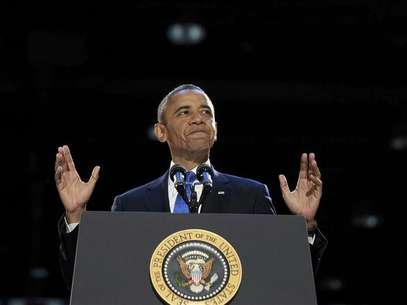U.S. President Barack Obama speaks during his election night victory rally in Chicago, November 7, 2012. Foto: Jason Reed / Reuters