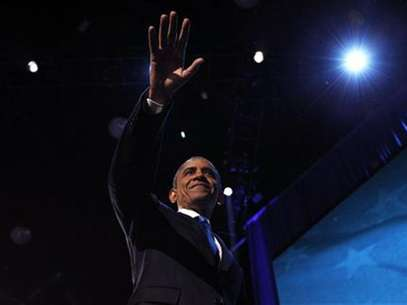 U.S. President Barack Obama celebrates after winning the U.S. presidential election in Chicago, Illinois, November 7, 2012 Foto: Jason Reed / Reuters