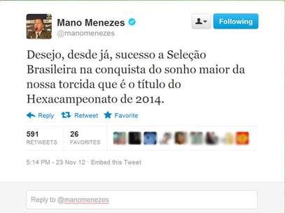Mano Menezes utilizou o Twitter para comentar sobre a saída do cargo Foto: Twitter / Reprodução