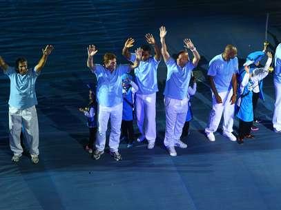 Ídolos gremistas participam da festa da inauguração da Arena Foto: Lucas Uebel/Grêmio FBPA / Divulgação