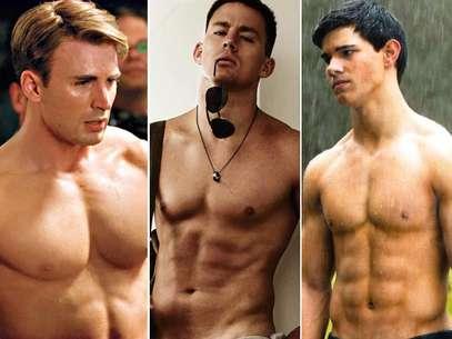 (Da esq. para a dir.) Chris Evans, Channing Tatum e Taylor Lautner estão na lista de homens mais sarados do FitSugar Foto: Divulgação