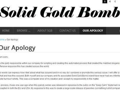 """La empresa pidió disculpas en su página y dijo que los eslóganes habían sido generados """"por un algoritmo de un programa de computadoras"""" Foto: Reproducción Solid Gold Bomb"""
