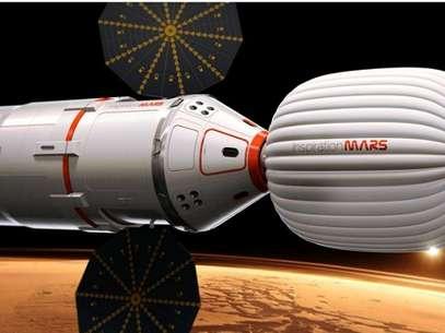 Así se vería la cápsula en la que una pareja realizaría el viaje de 16 meses a Marte. Foto: AP