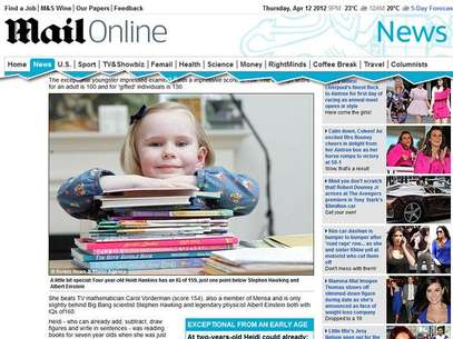 Aos 4 anos, a britânica Heidi Hankins já tinha QI comparado ao de Albert Einstein Foto: Reprodução