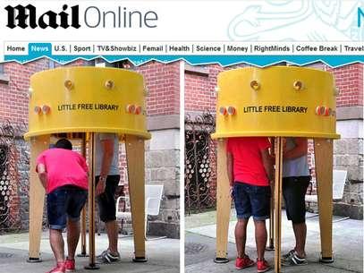 Little Free Library permite que até duas pessoas vasculhem livros Foto: Daily Mail / Reprodução