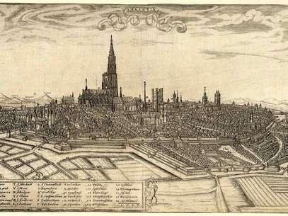 Gravura de 1587 mostra a cidade de Estrasburgo, que no período romano foi chamada de Argentoratum  Foto: Wikimedia