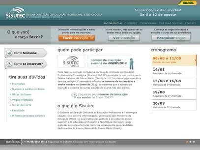Sisutec recebe inscrições entre os dias 6 e 12 de agosto Foto: Reprodução