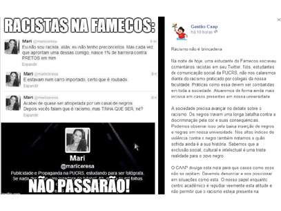 O CAAP divulgou uma nota repudiando o comentário da universitária Foto: Facebook / Reprodução