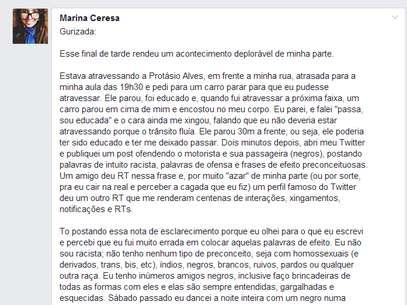 A universitária publicou, mais tarde, um esclarecimento sobre o caso Foto: Facebook / Reprodução
