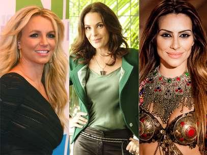 Sem constrangimento, Britney Spears, Carolina Ferraz e Cléo Pires marcaram a virilha com tatuagem Foto: Shutterstock/ Divulgação/TV Globo