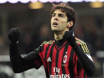 Kaká comemorou seu gol no começo do jogo, mas logo depois o Milan sofreu o empate Foto: Reuters
