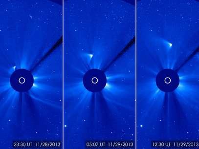 Imagens anteriores mostrava o cometa mais brilhante Foto: ESA/Nasa/SOHO/GSFC / Divulgação