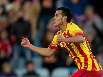 Pedro Rodríguez anotou três gols, sofreu pênalti e deu assistência em vitória do Barcelona neste domingo Foto: Getty Images