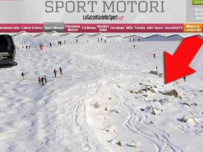 Jornal alemão mostrafoto da pista de esqui onde Schumacher sofreu grave acidente Foto: Gazzeta dello Sport / Reprodução