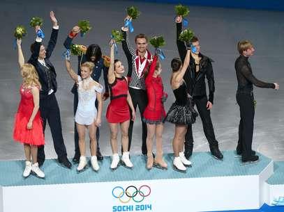 Rússia levou primeiro ouro em Sochi na patinação artística por equipes Foto: Getty Images