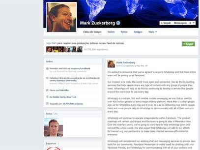 Zuckerberg comentou a compra em seu perfil Foto: Reprodução