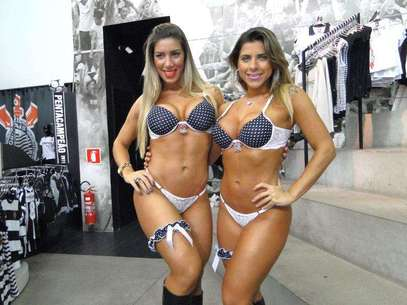 As irmãs Ana Paula Minerato e Tatiane Minerato lançaram a nova coleção de lingeries do Corinthians Foto: Fausto Junior/Divulgação