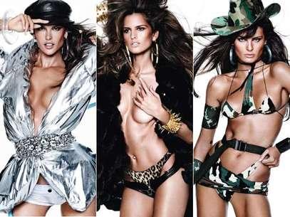 As modelos Isabeli Fontana, Alessandra Ambrosio, Izabel Goulart estrelaram o ensaio da edição Foto: Divulgação