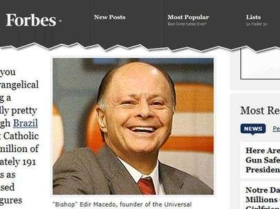 Edir Macedo é símbolo do enriquecimento das igrejas evangélicas no Brasil, diz revista Foto: Reprodução