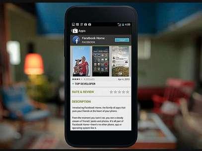 Quem já tiver o Facebook instalado no Android, verá um aviso de update quando o Facebook lançar o Home Foto: Reprodução