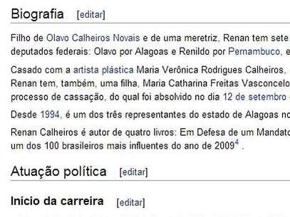 Biografia foi alterada na manhã desta sexta-feira, com a inclusão de ofensa à mãe de Renan Foto: Wikipédia / Reprodução