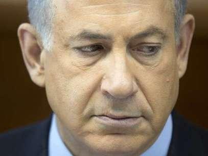 """O premiê Netanyahu durante reunião do seu gabinete no último domingo: acordo é """"erro histórico"""" Foto: AFP"""